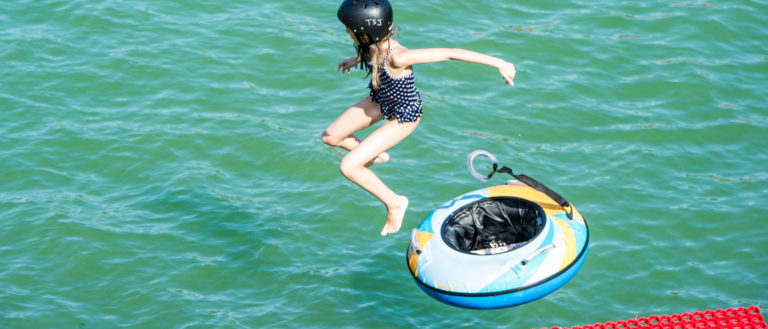Water jump at the lake St Jean Pla de Corts